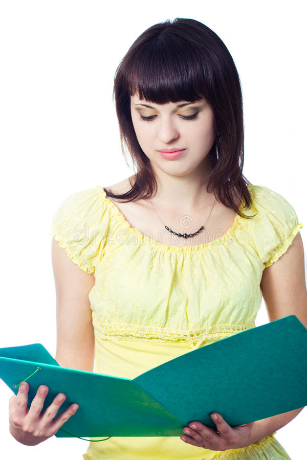 Download Student Girl With Green Folder Stock Image - Image of face, hair: 21482253