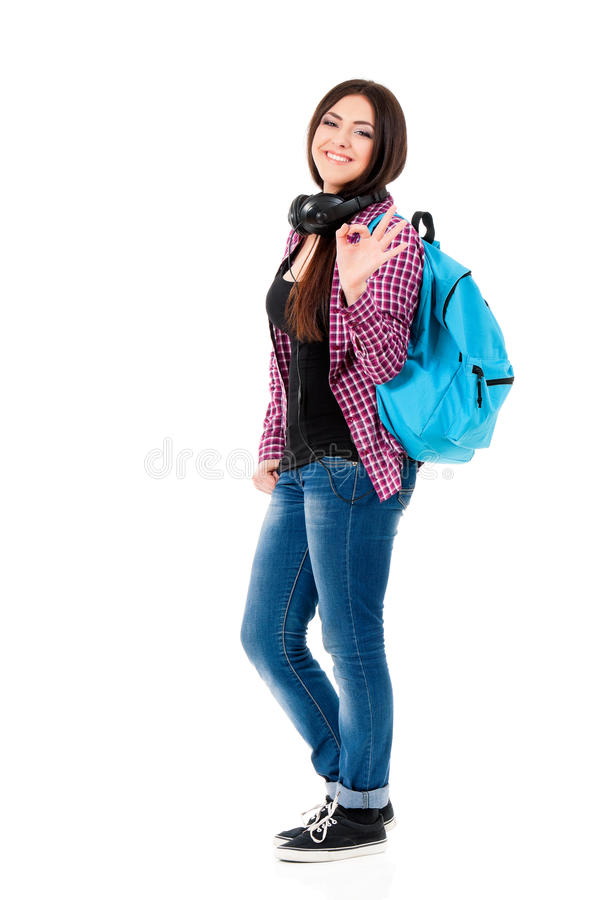 Student girl with headphones stock images