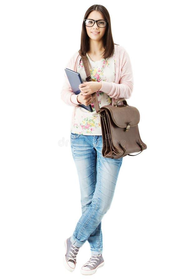 Student Girl i full längdstående för exponeringsglas över vit fotografering för bildbyråer