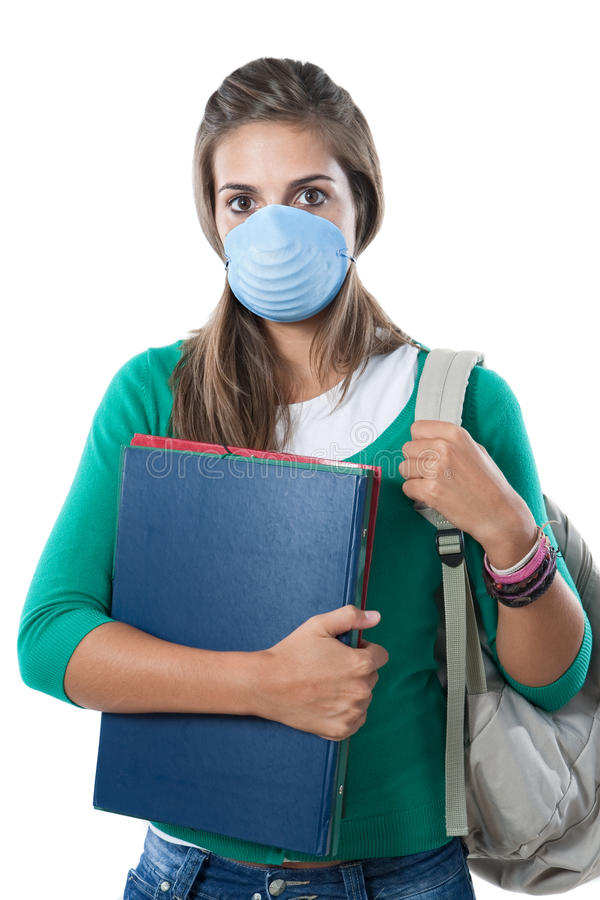 Student girl infected with influenza A. And mask isolated over white royalty free stock images