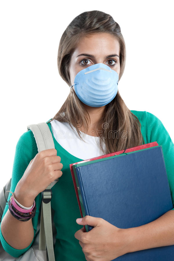 Student girl infected with influenza A. And mask isolated over white royalty free stock image