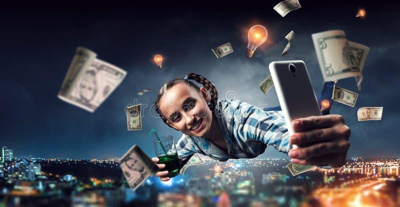 Funny girl make selfie. Mixed media royalty free stock photos