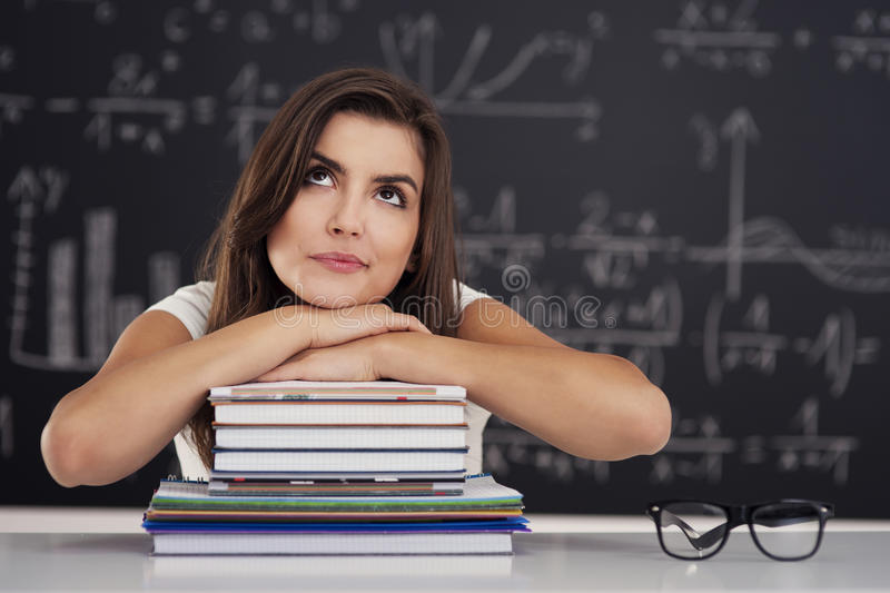 Download Student girl stock photo. Image of choice, desk, notebook - 31163356