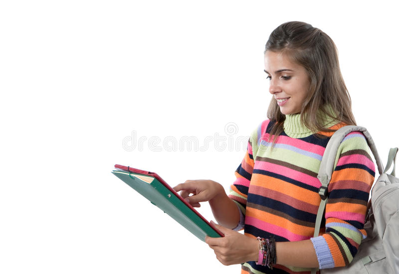 Student girl reading. Isolated on a over white background stock photos