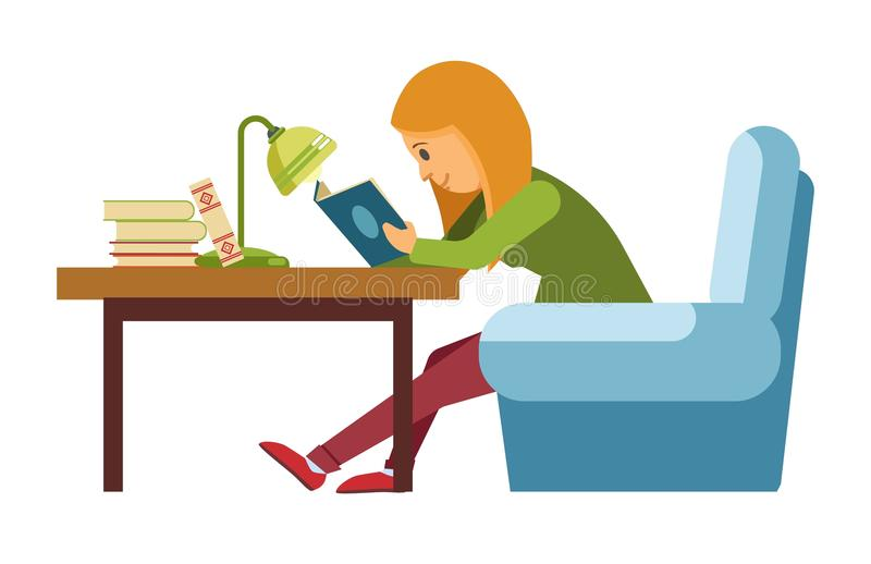 Student girl reading book in library sitting on chair bookshop vector flat royalty free illustration