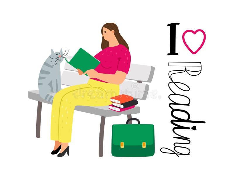 Student girl reading books royalty free illustration