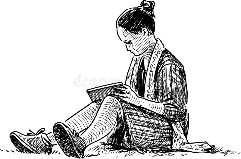 A student girl reads a book on the lawn grass. Vector drawing of a girl sitting on the lawn in a city park royalty free illustration