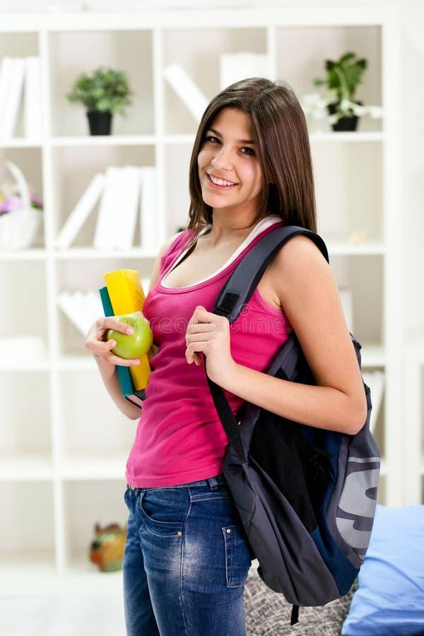 Student girl ready for school stock photos