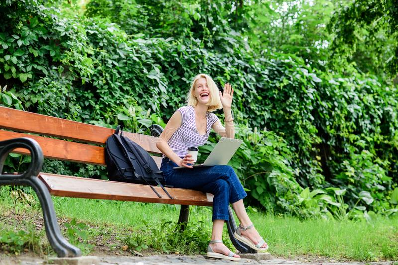 Student girl study online. modern woman student study online outdoor. student prepare for exams. students life. Pretty. Woman. online education. happy woman stock photography
