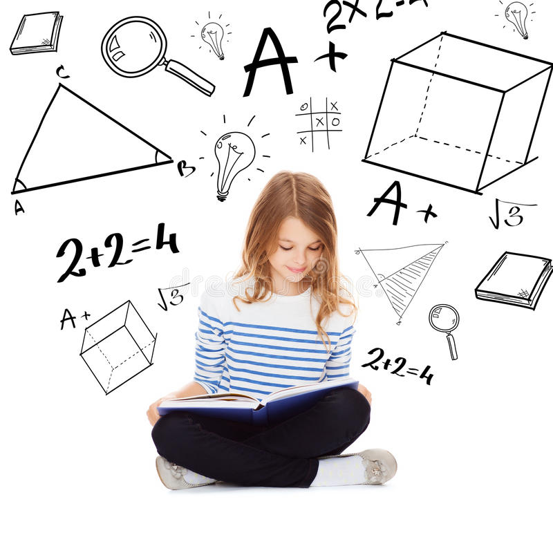 Student girl studying and reading book stock image