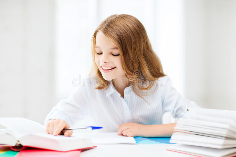 Download Student Girl Studying At School Stock Image - Image: 33507003