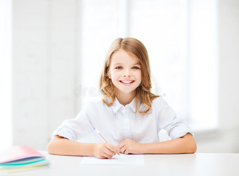 Download Student Girl Studying At School Stock Photo - Image of education, preparing: 33507090