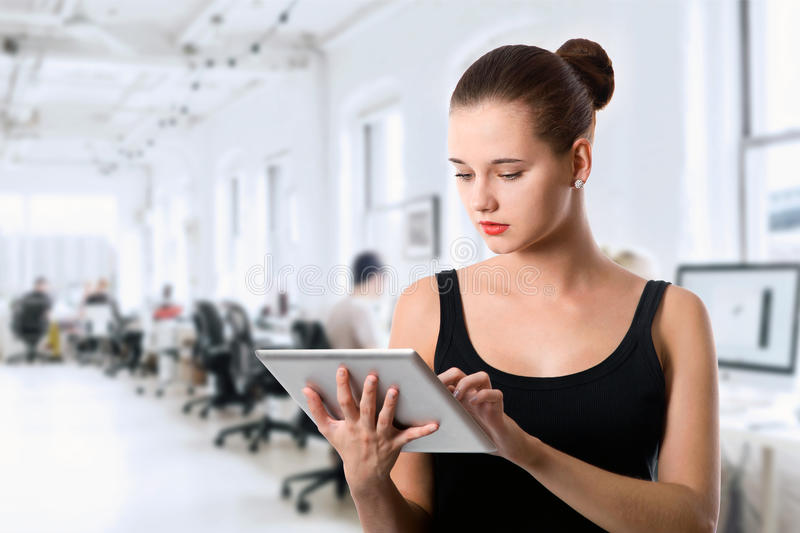 Student girl with tablet computer stock images