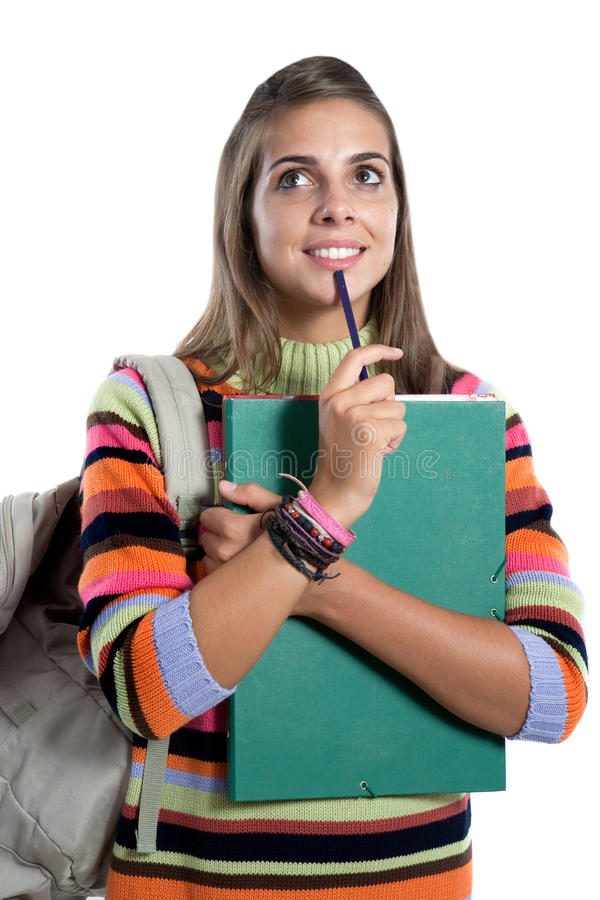 Student girl thinking. Isolated on a over white background stock photos