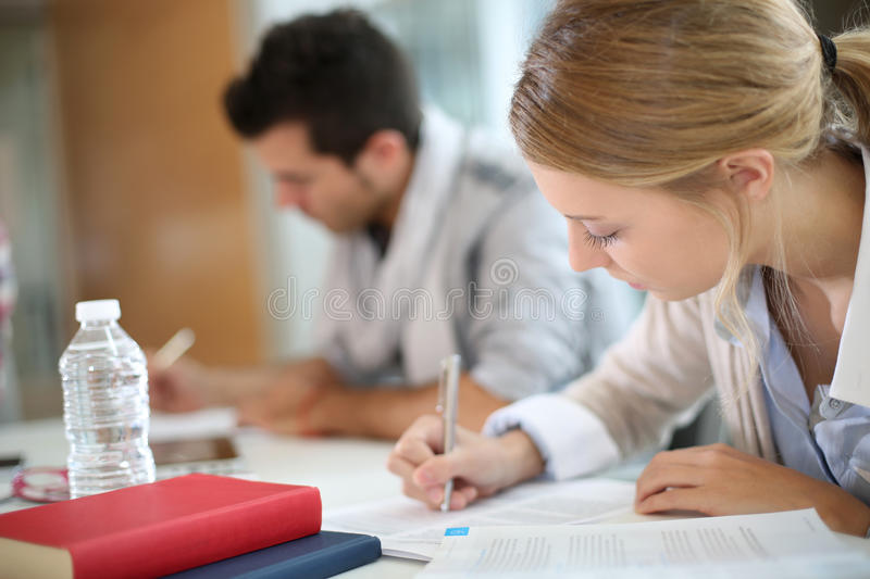 Student girl woth classmate studying. Student girl studying in business school royalty free stock photography