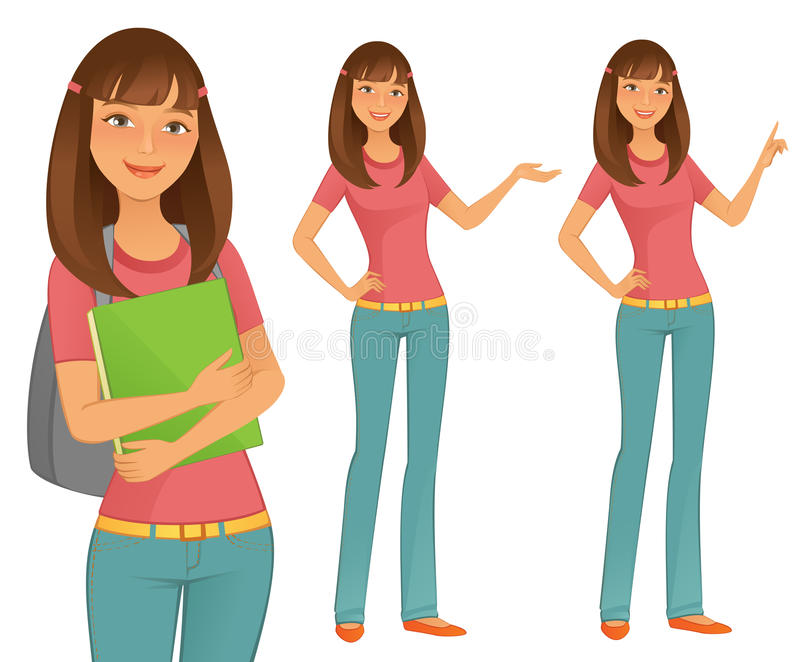 Student Girl. A young confident Student Girl vector illustration
