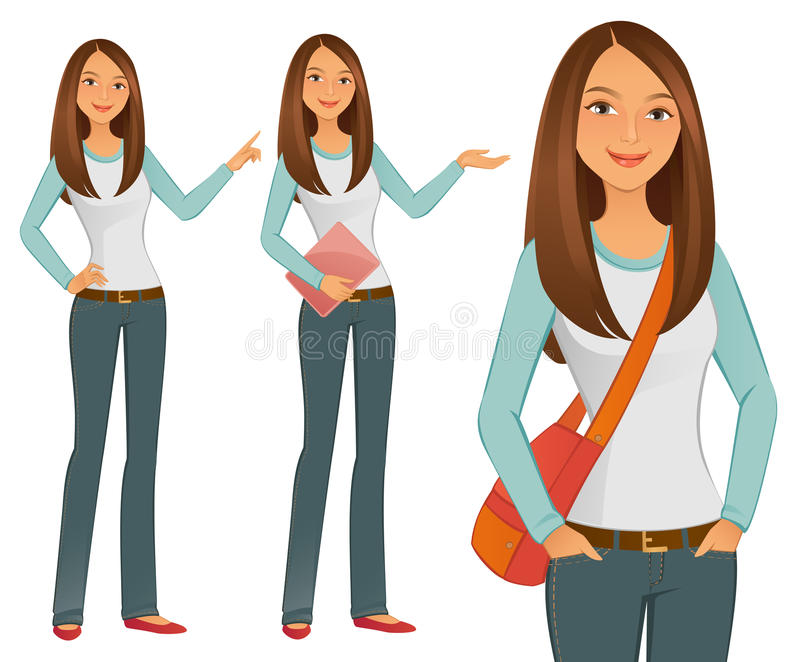 Student Girl. A young confident Student Girl stock illustration