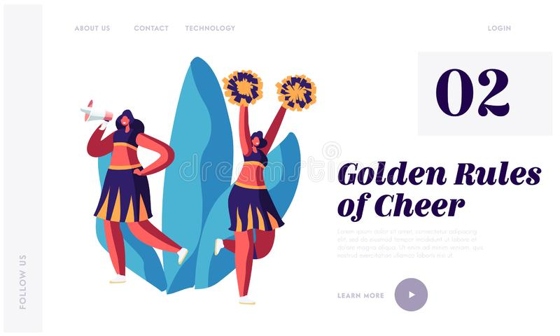 Student Girls in Cheerleaders Uniform Dancing with Pompons and Crying to Megaphone on Sport Event Competition Support. Sportsmen Website Landing Page, Web Page vector illustration