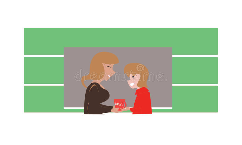 Student gives present to teacher royalty free illustration