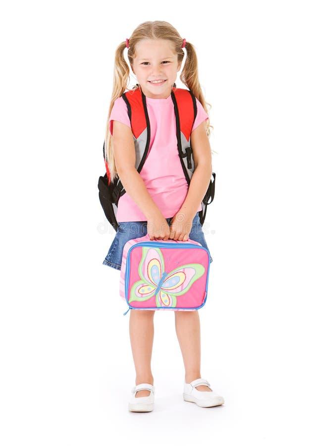 Student: Glimlachend Meisje Klaar voor Basisschooldag royalty-vrije stock afbeelding