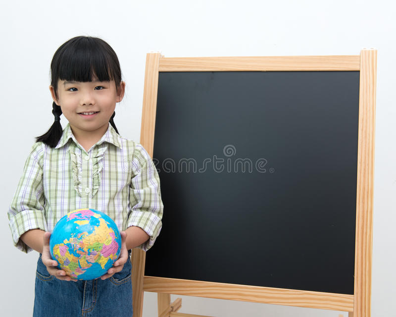 Student With Globe And Black Board Royalty Free Stock Image