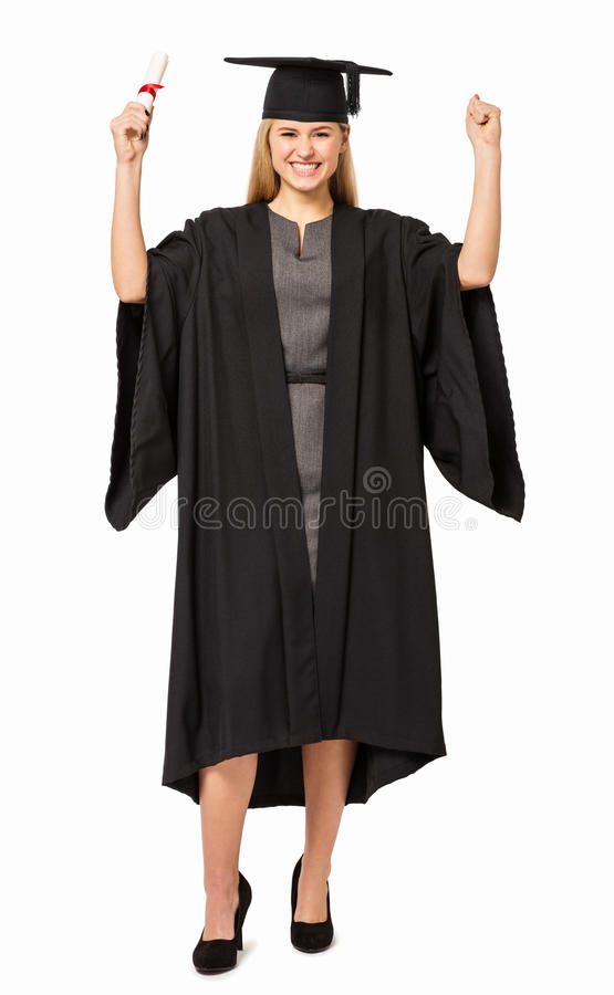 Student In Graduation Gown Holding Certificate Stock Photo - Image ...