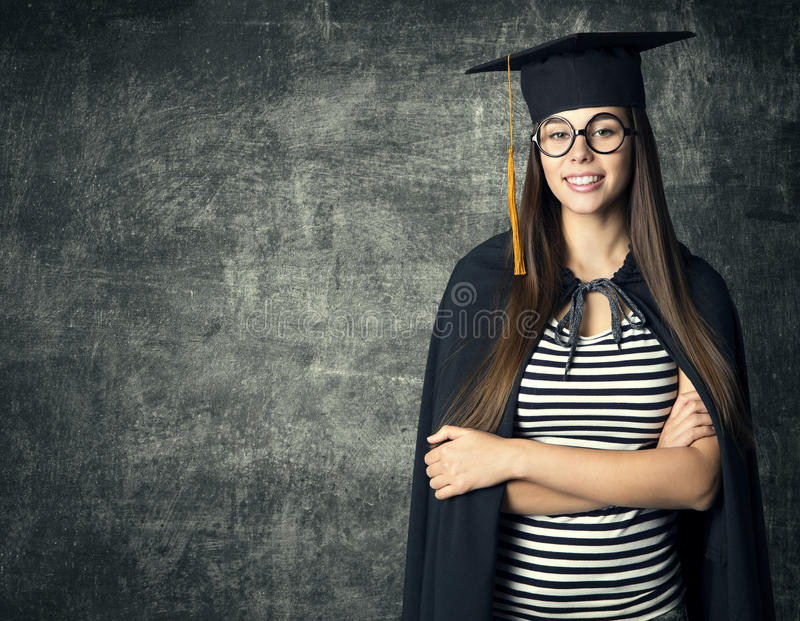 Student in Graduation Hat, Woman in Glasses Mortarboard. Over Blackboard, People University Education royalty free stock photography