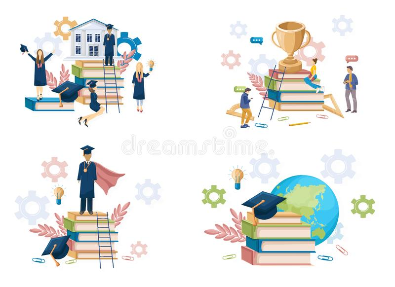 Student graduation set collection Vector flat style. Symbols knowledge template. Happy pupils moments. Achieved steps stock illustration