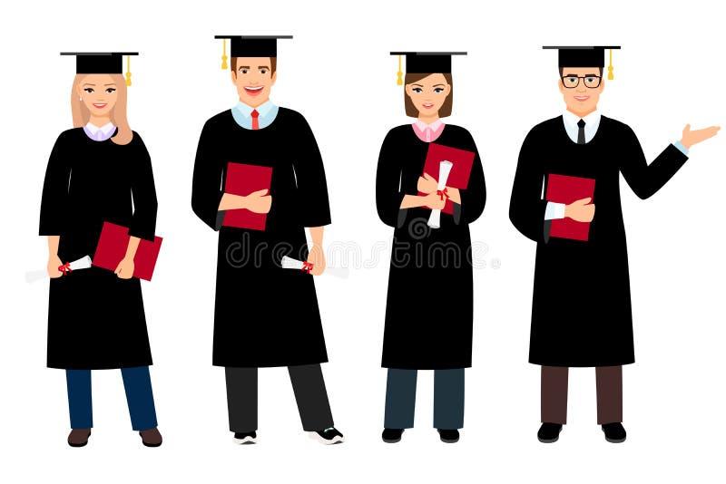 Student graduation set vector illustration