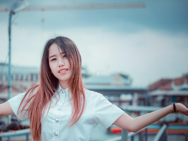 Student and gradutation concept from portrait of asian beautiful stock photography
