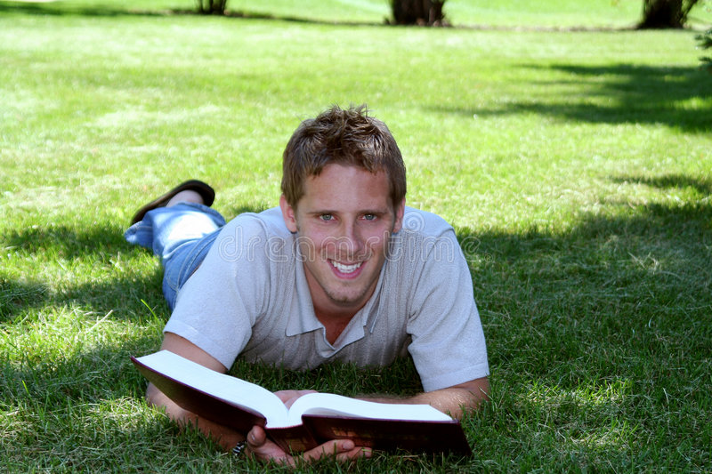 Download Student In Grass Stock Photo - Image: 1356950