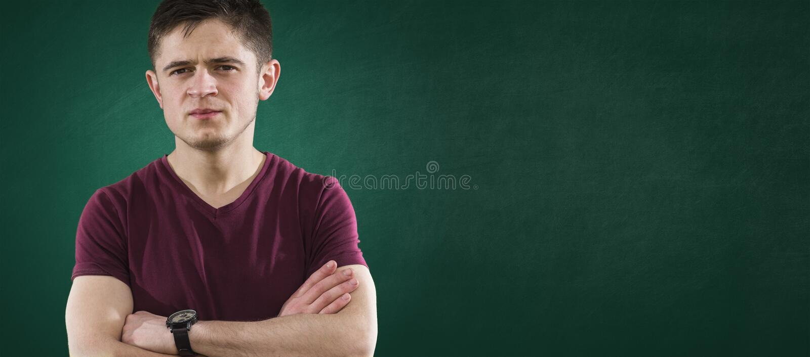 Download Student On Green Chalkboard Stock Image - Image: 40004055