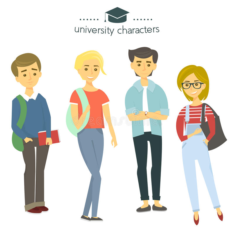 Student group isolated on white. University characters. Students with books. Vector Illustration. stock illustration