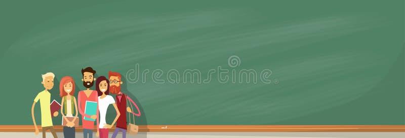 Student Group Over Green Blackboard Holding Books University Education vector illustration