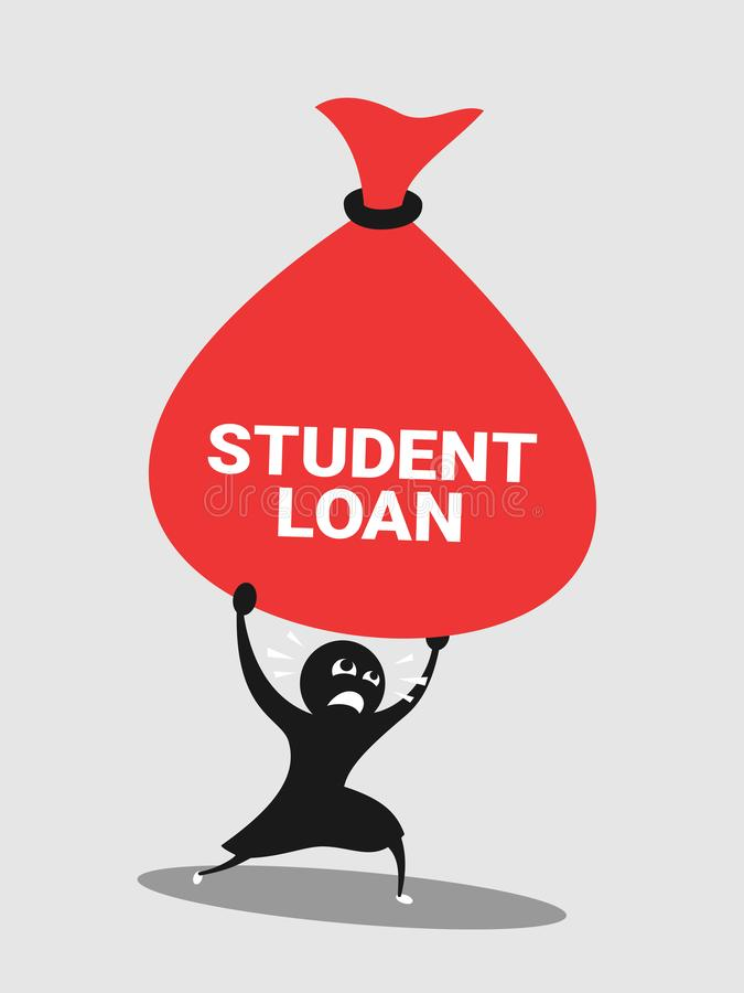 Student has financial problem, difficulty and trouble with heavy money because of student loan and debt. Payment for education on college and university royalty free illustration
