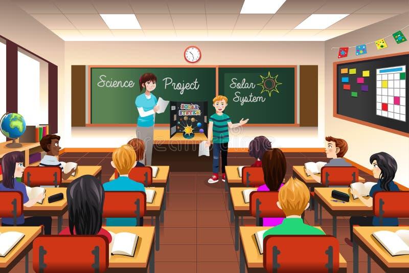 Student Having Science Presentation vektor illustrationer