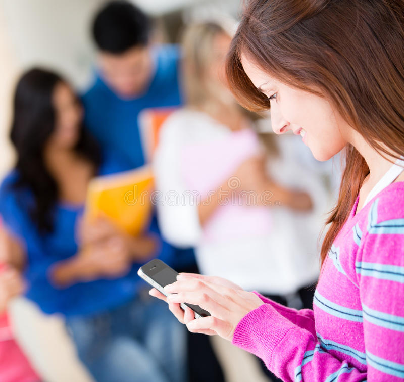 Student on her mobile phone
