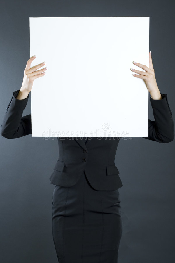 Student holding a blank white board stock photo