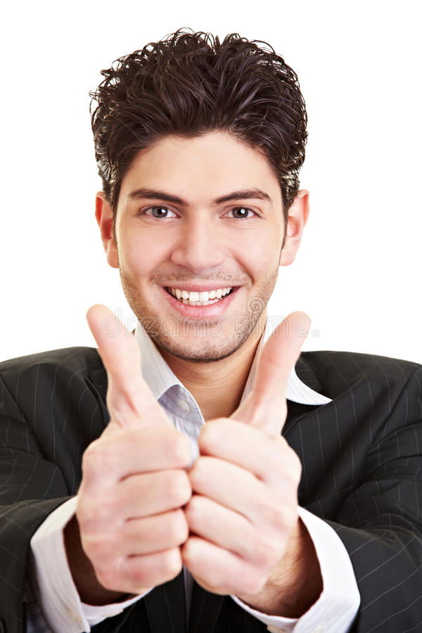 Student Holding Both Thumbs Up Royalty Free Stock Photos