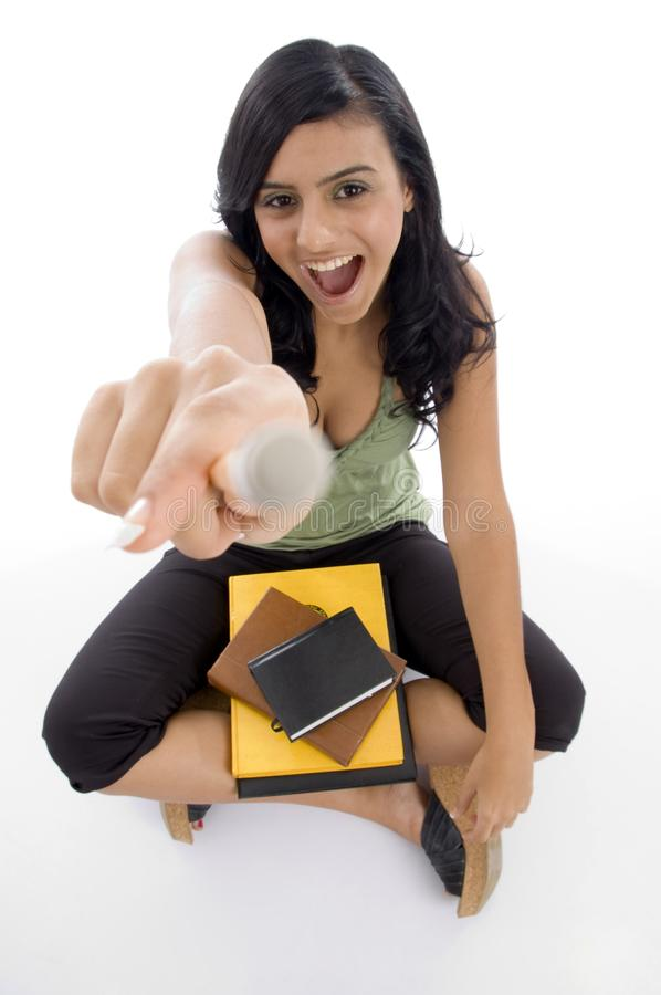 student holding pencil royalty free stock photo