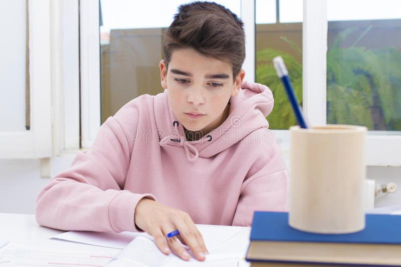 Student at the home or school. Young student at the home or school table studying royalty free stock photo