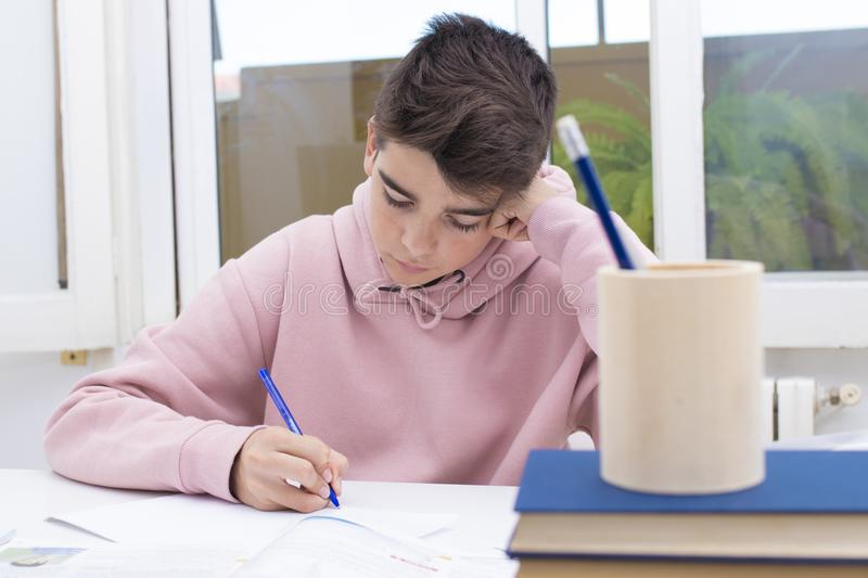 Student at the home or school. Young student at the home or school table studying stock photo