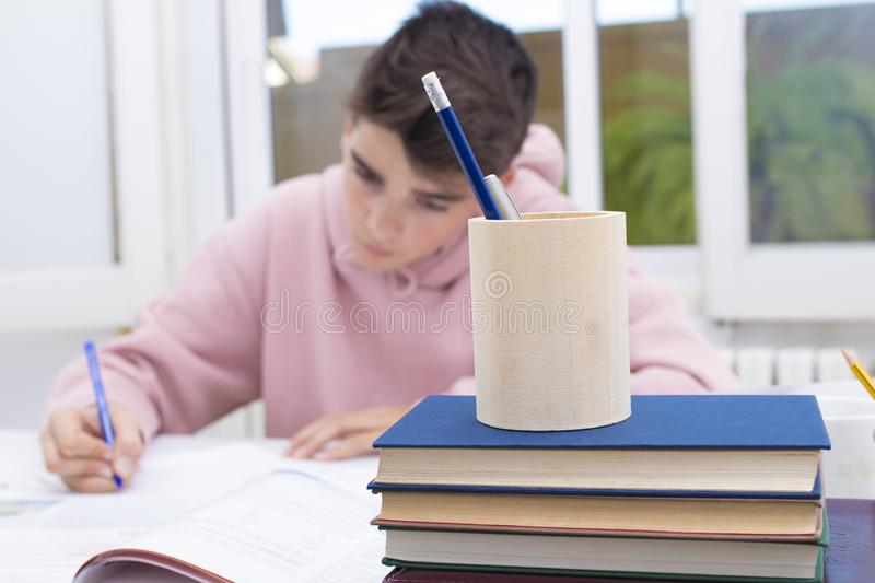 Student at the home or school. Young student at the home or school table studying stock photos