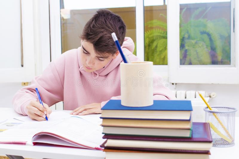 Student at the home or school. Young student at the home or school table studying royalty free stock photography