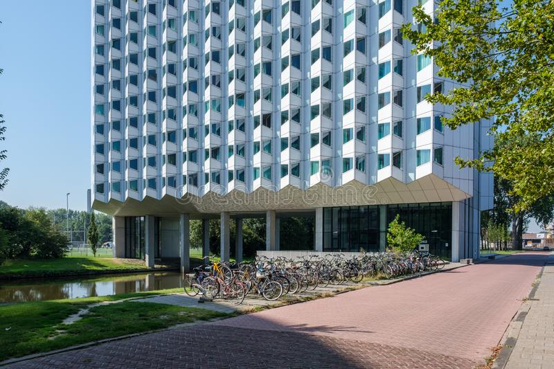 Student housing on the campus of the Delft University of Technology, Netherlands stock photo
