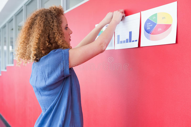Student hungs paper on the wall royalty free stock images