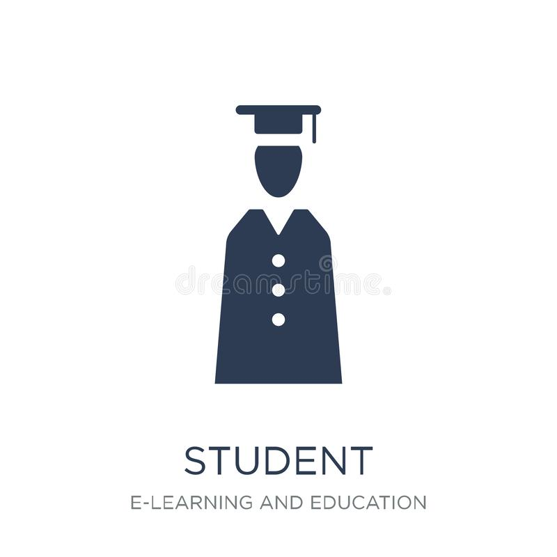 Student icon. Trendy flat vector Student icon on white background from E-learning and education collection royalty free illustration