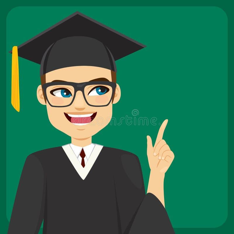 Student im Aufbaustudium Pointing Chalkboard lizenzfreie abbildung