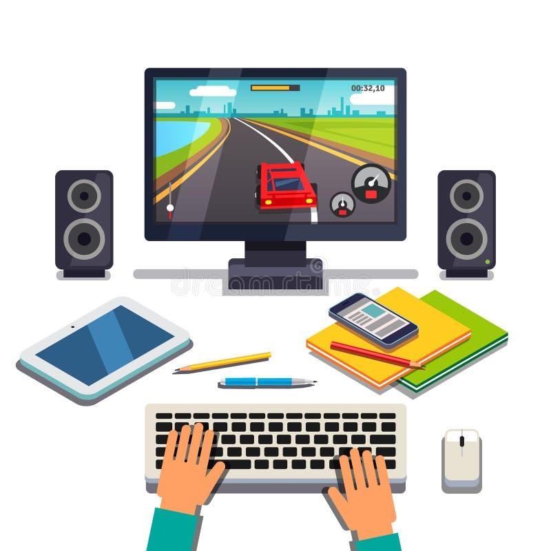Student ist Spiel auf einem Tischrechner-PC vektor abbildung