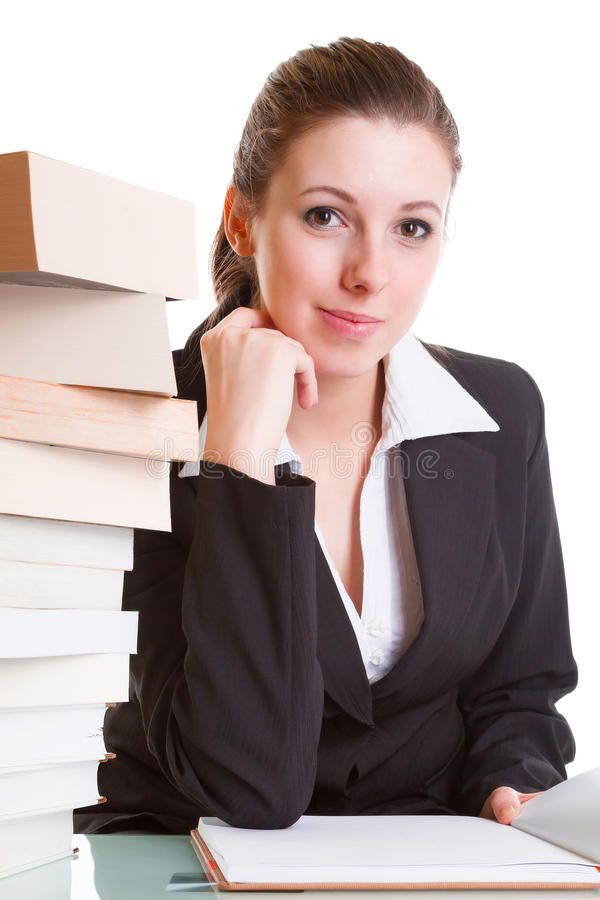 Download Student Learning With Pile Of Books On The Desk Stock Image - Image: 29426513